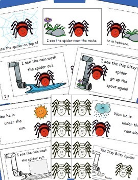Itsy Bitsy Spider Emergent Reader, Spiders, Positional Words, Cut and Paste