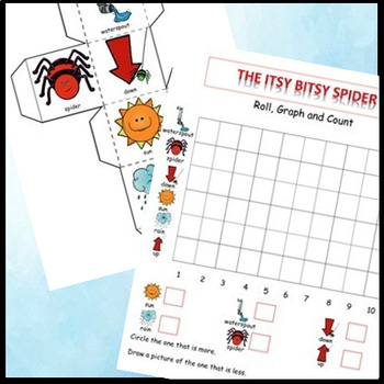 Itsy Bitsy Spider Math Learning Cube & Graphing Activities - Spider Themed