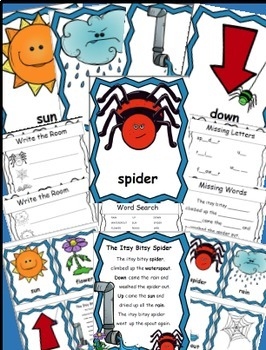 Itsy Bitsy Spider Math and Literacy Activity Bundle, Spiders, Spider Themed