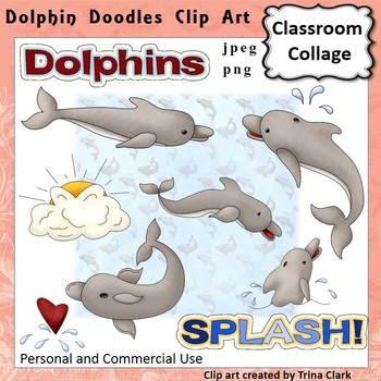 Dolphin Doodles Clip Art - Color - personal & commercial use
