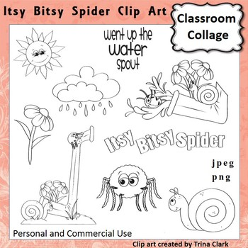 Itsy Bitsy Spider Clip Art - Line Drawing pers & comm use