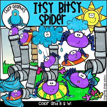 Itsy Bitsy Spider Clip Art Set - Chirp Graphics
