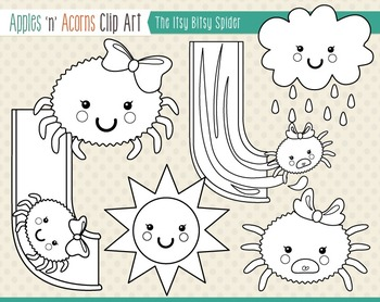 Itsy Bitsy Spider Clip Art - color and outlines
