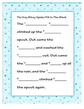 Itsy Bitsy Spider MadLib grammar practice fun