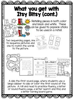 Itsy Bitsy Spider Nursery Rhyme Activities