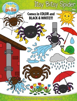 Itsy Bitsy Spider Nursery Rhyme Clipart Set — Over 55 Graphics!