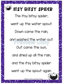 Itsy Bitsy Spider Poetry Packet