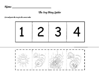 Itsy Bitsy Spider Sequence Cut and Paste