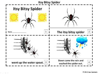 Itsy Bitsy Spider Song / Nursery Rhyme 2 Booklets in English