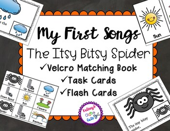 Itsy Bitsy Spider Song Book, Task Cards and Flash Cards