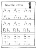 Itsy Bitsy Spider themed A-Z tracing preschool educational worksheets.