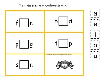 Itsy Bitsy Spider themed CVC #1 preschool homeschool vowel activity.  Phonics.