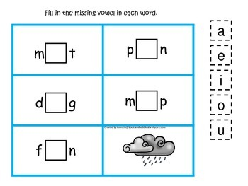 Itsy Bitsy Spider themed CVC #2 preschool homeschool vowel activity.  Phonics.