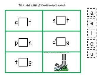 Itsy Bitsy Spider themed CVC #3 preschool homeschool vowel