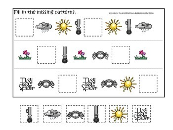 Itsy Bitsy Spider themed Fill in the Missing Pattern preschool printable game.