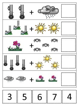 Itsy Bitsy Spider themed Math Addition printable game.  Preschool math activity.