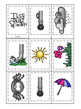Itsy Bitsy Spider themed Memory Matching preschool curriculum game. Daycare