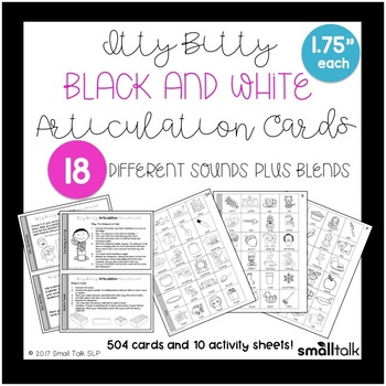 Itty Bitty Black and White Articulation Cards
