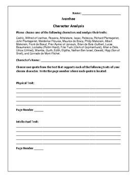 Ivanhoe - Character Analysis Activity - Sir Walter Scott