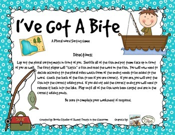 I've Got A Bite - A Plural Sorting Game w/ -s, -es, and -ies