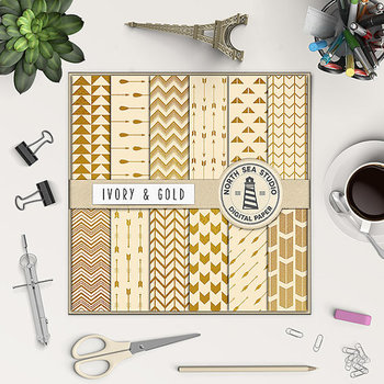 Ivory And Gold Digital Paper, Gold Foil Patterns