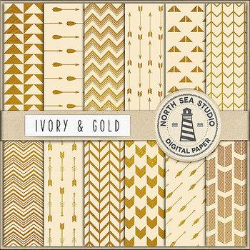 Ivory And Gold Digital Paper, Gold Foil Patterns