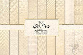 Ivory Art Deco Digital papers, printable beige scrapbook patterns