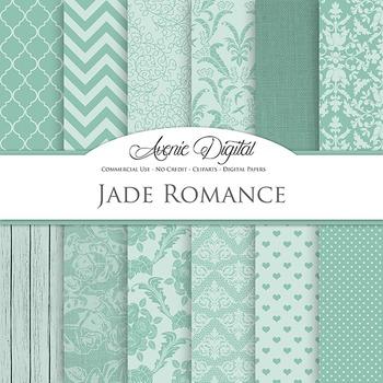 Jade Wedding Digital Paper patterns - bridal green  backgrounds