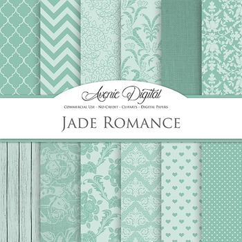 Jade Wedding Digital Paper patterns - bridal green  backgrounds