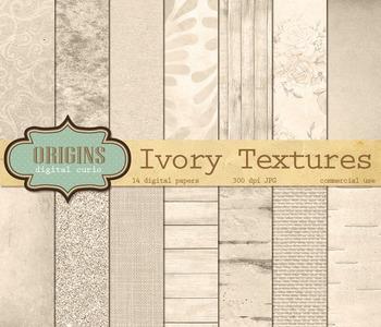 Ivory Digital Paper textures, backgrounds, rustic wedding scrapbook paper pack