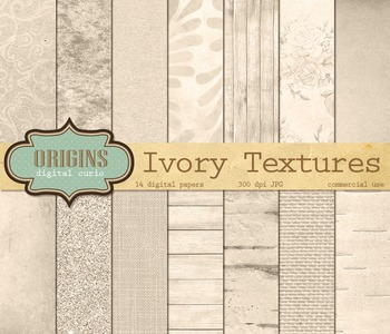 Ivory Digital Paper textures, backgrounds, rustic wedding scrapbook paper pack