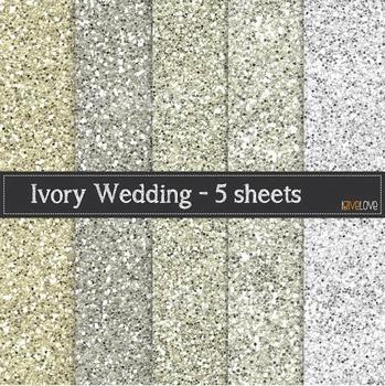 Ivory Glitter Paper - Wedding Glitter