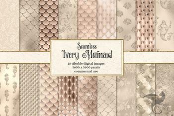 Ivory Mermaid Scales digital paper, mermaid patterns, backgrounds, glitter