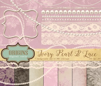 Ivory Pearl and Lace Digital Scrapbooking kit, wedding digital paper and clipart