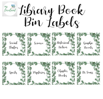 Ivory Themed Book Bin Labels!