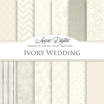 Ivory Wedding Digital Paper patterns - off white save the date backgrounds