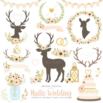 Ivory and Gold Rustic Wedding Clipart - Ivory Deer and Flower Wreaths Graphics