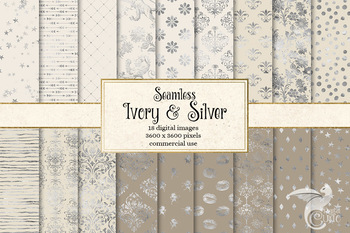 Ivory and Silver Digital Paper, taupe beige seamless patterns and backgrounds