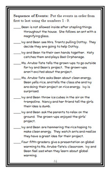 Ivy + Bean What's the Big Idea? (Barrows) Novel Study / Comprehension (27 pages)
