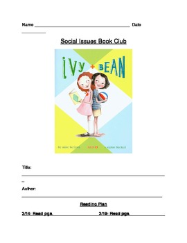 Ivy and Bean Book 1 Book Club Discussion Packet