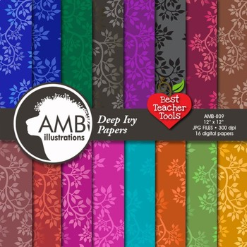 Ivy Digital Papers, Leaf patterned Papers and Backgrounds, Dark Colors, AMB-809