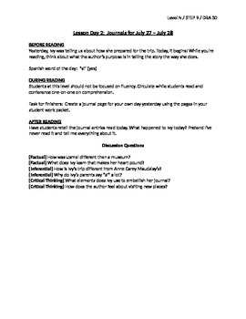 Ivy's Journal Guided Reading Lesson Plan - Level N