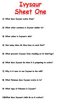 Ivysaur Reading Comprehension