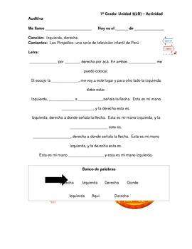 Spanish directional words- Izquierda, Derecha - song by Los Pimpollos