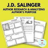 J.D. Salinger - Author Study Worksheet, Author's Purpose,