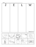 J, E, L & W beginning sounds review sheet