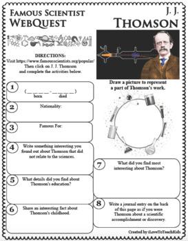 J. J. THOMSON Science WebQuest Scientist Research Project Biography Notes