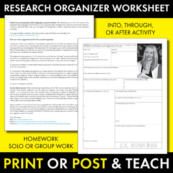 J K  Rowling Author Study Worksheet, Harry Potter Author Biography Activity  CCSS