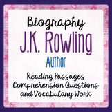 J.K. Rowling Author Biography Resource Informational Texts, Activities