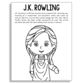 J.K. Rowling, Famous Author Informational Text Coloring Page Craft, Library